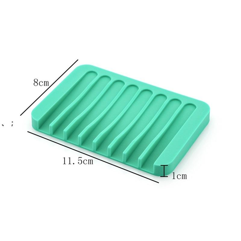 NEW Anti-skid Soap Dish Silicone Soap Holder Tray Storage Soap Rack Plate Box Bath Shower Container Bathroom Accessories HHE7133