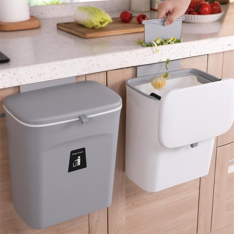 Papelera de la cocina de la papelera montada en la pared 9l con la tapa de los residuos que colgaba el reciclaje de la basura 210827