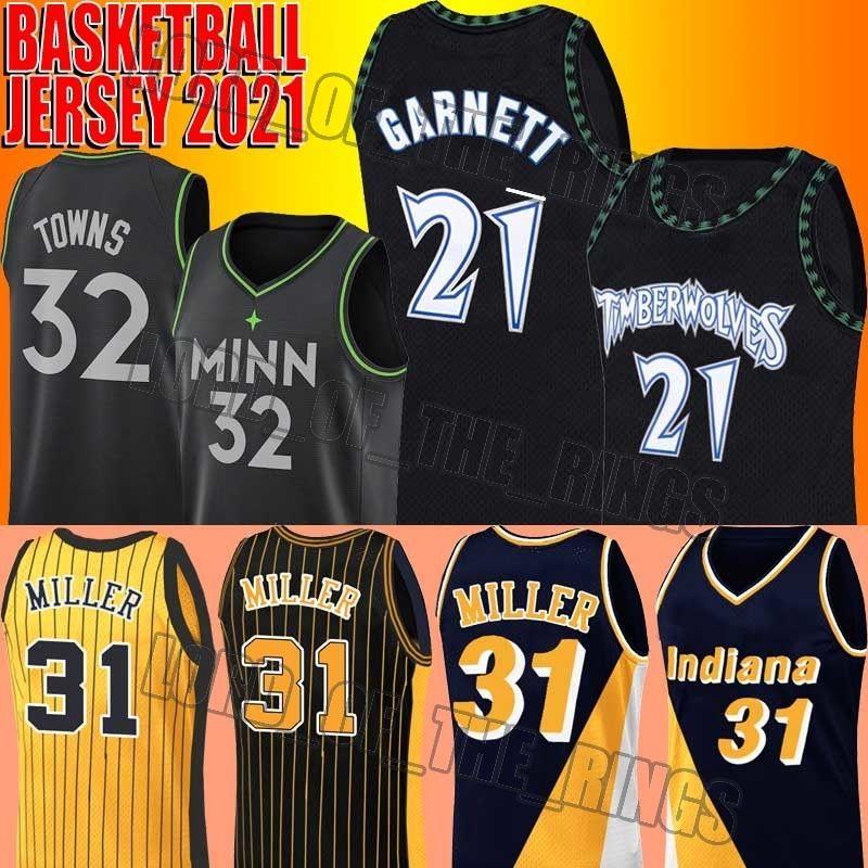 Rückgang Kevin 21 Garnett Jersey Reggie 31 Miller Jerseys 1 Karl Anthony Towns Edwards Basketball Jersey