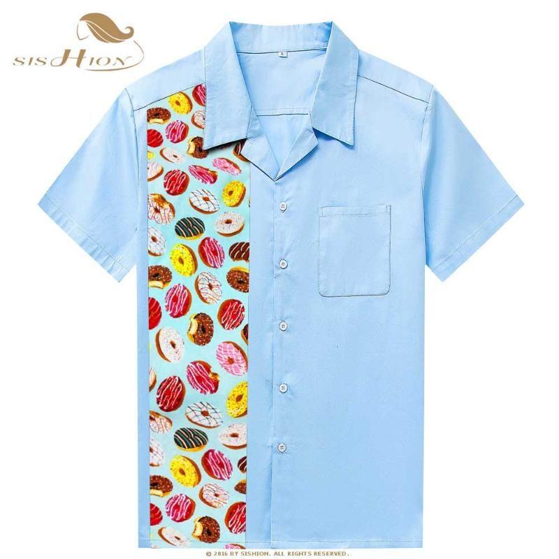 Светло-голубая коричневая мужская рубашка ST110 Dounghnut Print Patchwork Vintage ретро повседневные рубашки Homme Homme мужская