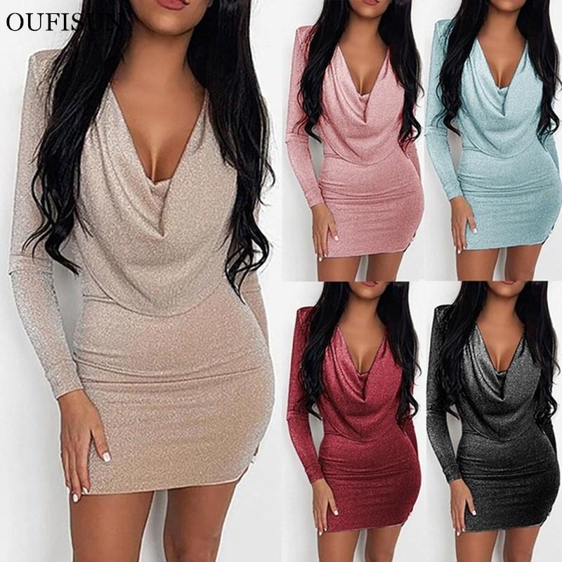 Günlük Elbiseler Oufisun Mini Akşam Parti Elbise Glitter Seksi Bodycon Kadın Bahar Kadın Vestidos Kısa Sparkle Clubwear