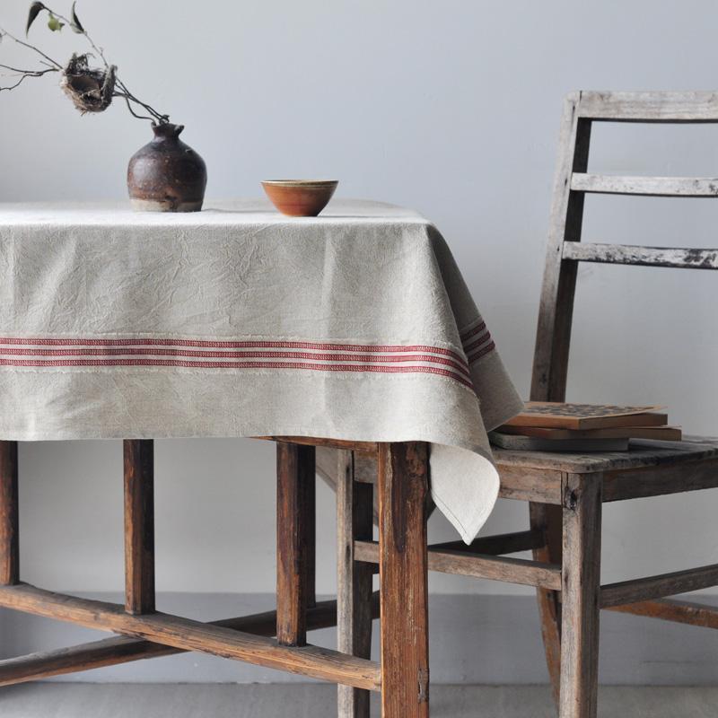 직사각형 식탁보 면화 및 린넨 파티 테이블 천 식사 장식