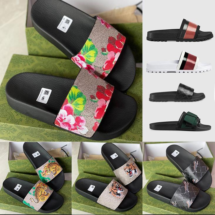 Desenhador de borracha de borracha sandália floral brocado homens chinelo fundos de engrenagem flip flops mulheres listradas Praia chinelo causal com caixa US5-11