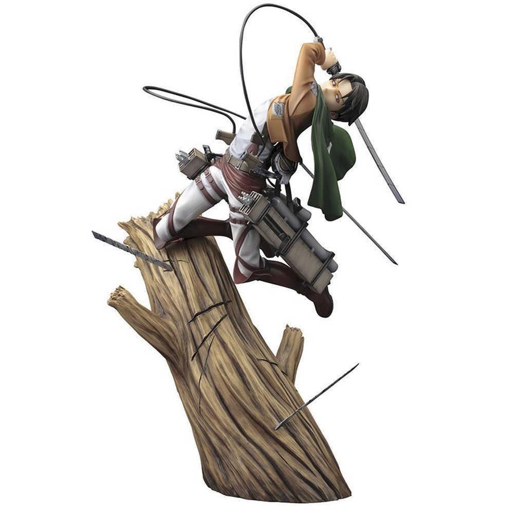 Attacco su Titan Levi Eren Bambola dei cartoni animati PVC 25cm Box-confezionato figurina giapponese figurina figura per la raccolta di anime bambini Q0619