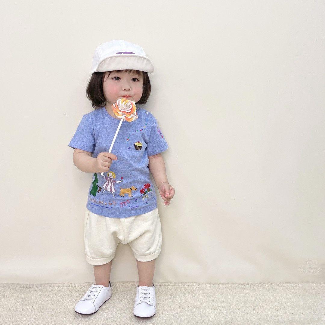 الرضع طفل الفتيان الفتيات تي شيرت الأعلى + السراويل 2 قطعة / مجموعات أطفال بوي فتاة تناسب الأطفال القطن تي شيرت الملابس