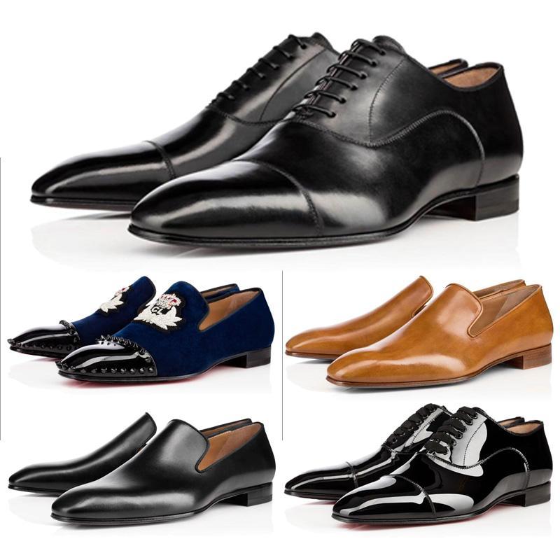 2021 الأحمر أسفل رجل أحذية جلدية ماتي براءات الاختراع من جلد الغزال المصممين العلامة التجارية المسامير التطريز الرجال أحذية رياضية الأعمال