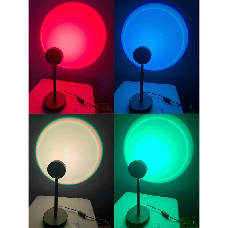 Gece Işıkları LED Işık Gökkuşağı Günbatımı Kırmızı Projektör Lambası Ev Kahve Dükkanı Arka Plan Duvar Dekorasyon Atmosfer Masa Için