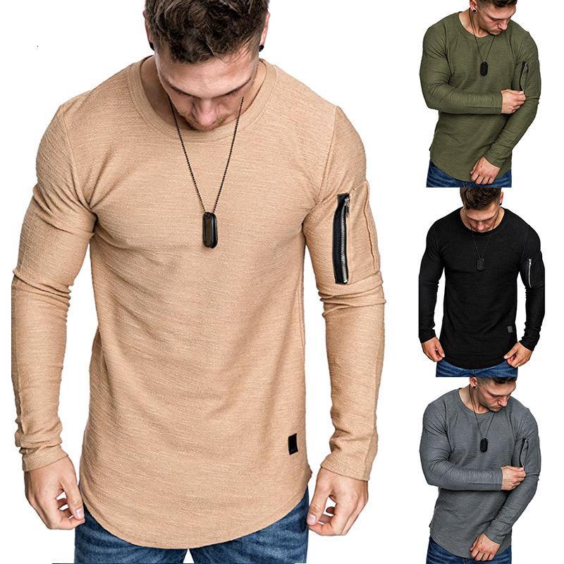 2020 Outono Nova Redondo Pescoço De Couro De Couro De Bolso Zipper Manga Longa T-shirt Estilo Slim Men's T-Shirtflqt