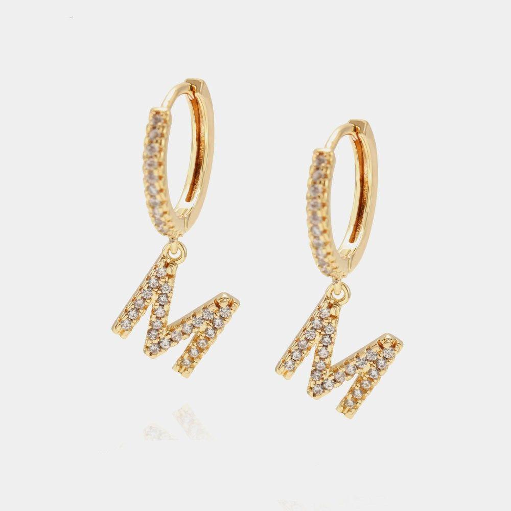 Mulheres de jóias de luxo 26 cartas de desenhista brincos de desenhista cobre com ouro chapeado alfabeto elegante brincos de diamante para garota estilo de moda hoop stud
