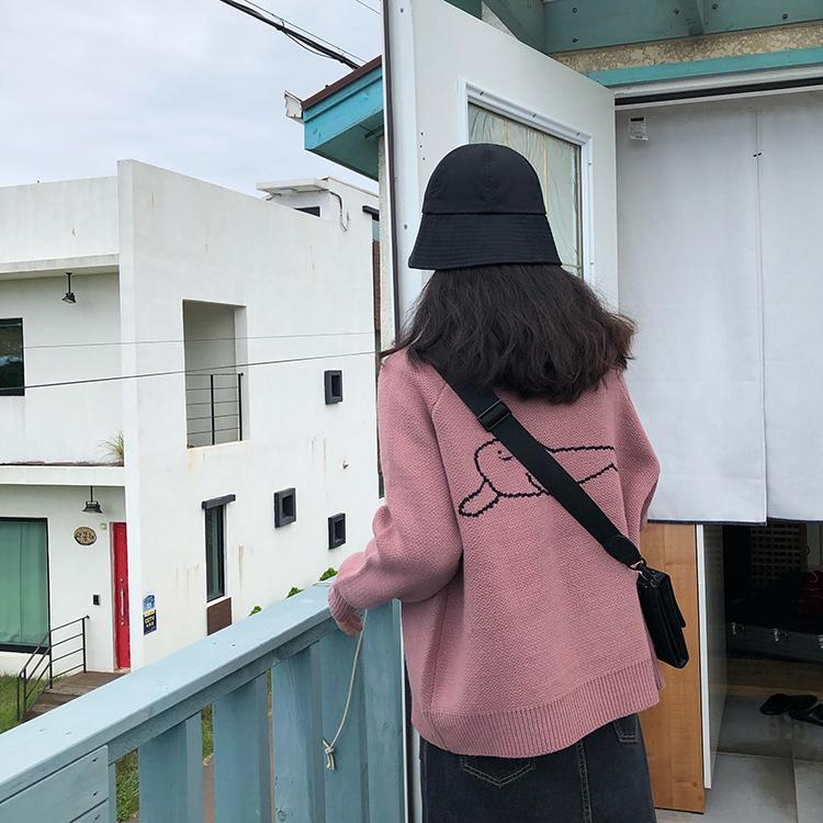 2 colores de punto suéter cárdigan para mujer estilo coreano suéter de punto de dibujos animados de dibujos animados chaqueta abrigo abrigo de otoño (F1375)