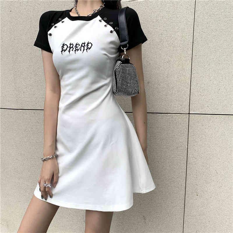Gothic Женское Летнее Платье Harajuku Черный Белый Мини Vestido 2021 Короткие Рукава Письмо Печать NY Sexy Bodycon Платья Панк Панк
