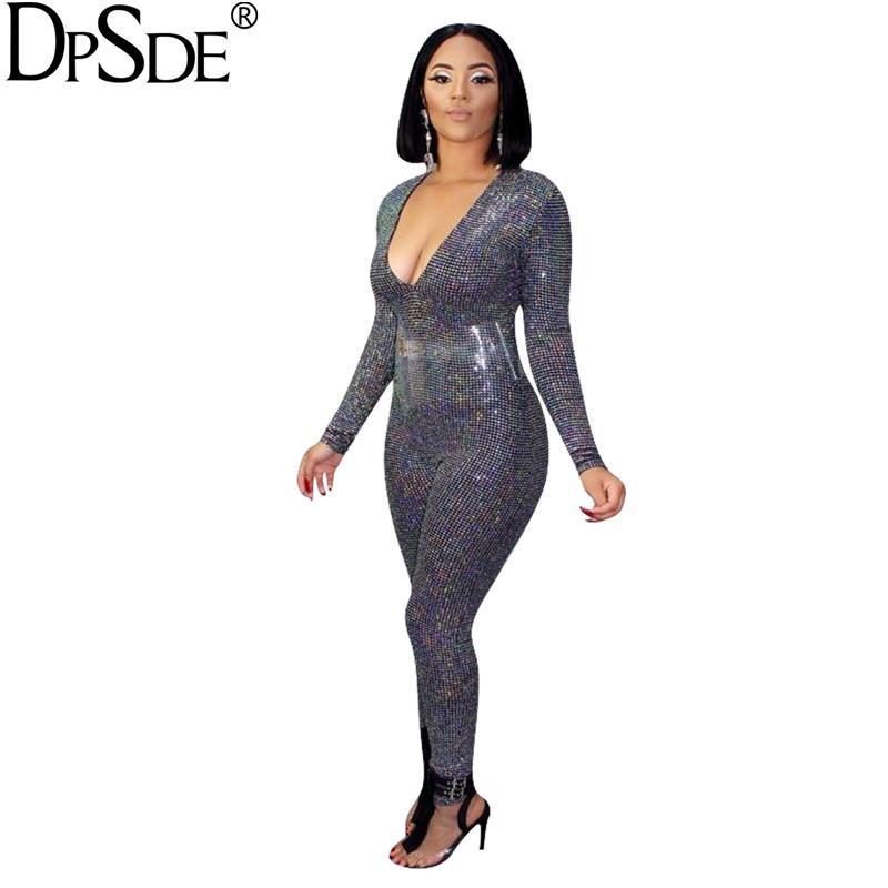 Женские комбинезоны Rompsers DPSDE Sequins Bodycon Sexy женщины длинный комбинезон Deep V-образные вырезывающие вечеринки повседневная котсуит 2021