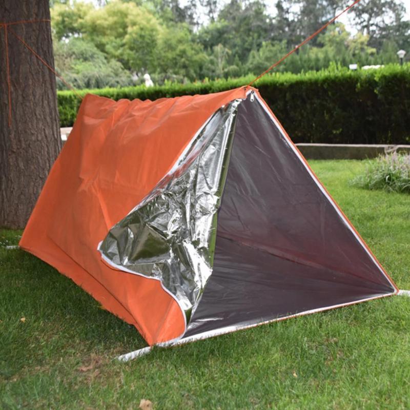 Camping tienda doble capa impermeable Aislamiento térmico a prueba de múltiples capas No-tejido Seguridad aluminizada Camping Manta de campaña y refugios