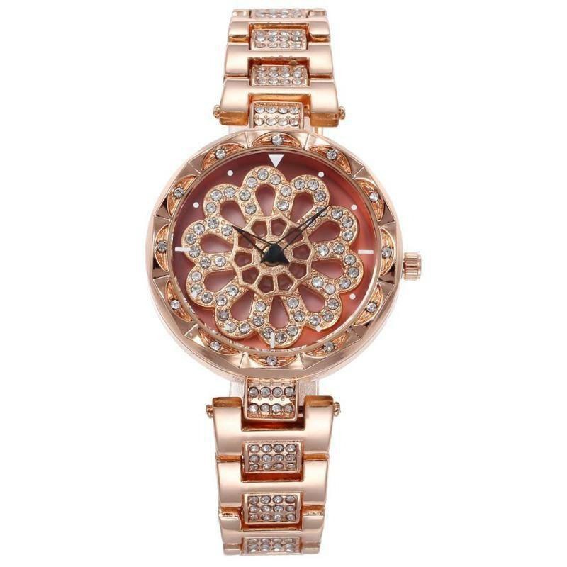 Relógios de luxo rotativos para mulheres impermeáveis diamante-street-cravejado relógio de aço inoxidável senhoras de quartzo de quartzo