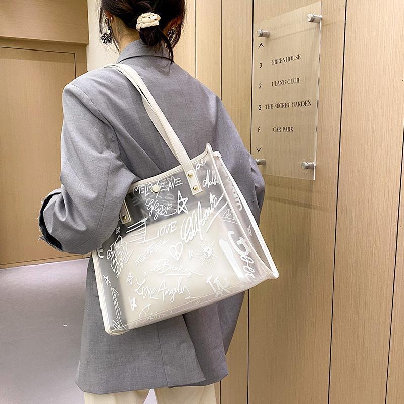대용량 어깨 핸드백 2021 여름 해변 가방 여성 PVC 젤리 방수 휴대용 토트 백