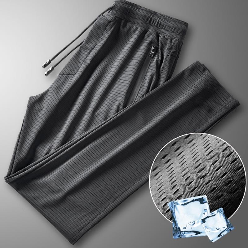Calças masculinas grande tamanho m-4xl 5xl malha respirável com bolsos zíper cordão de verão seda de gelo calças casuais homens secagem rápida