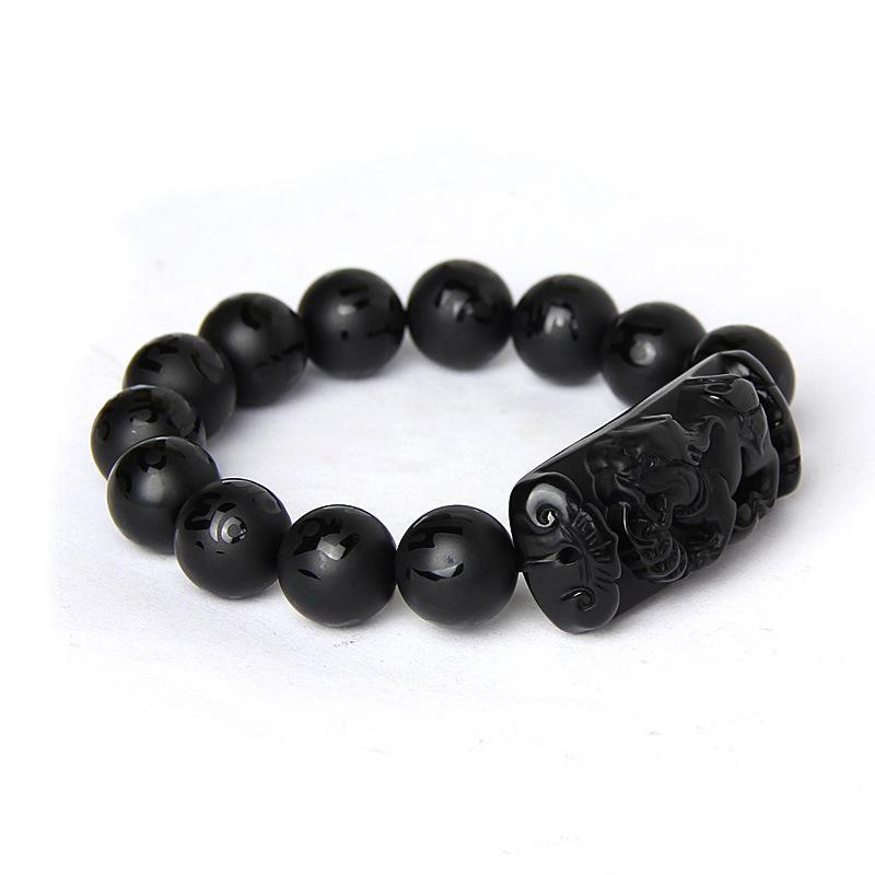 Großhandel Scrab schwarz Natürliche Obsidian Stein Armband Sechs Wörter Buddha Perlen Pixiu Armbänder Für Männer Frauen Mode Blege Schmuck Perlen, Str