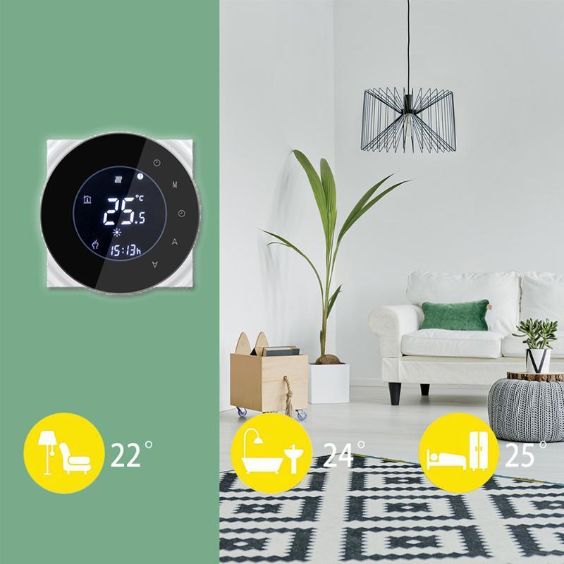 Smart Home Control TERMOSTATO TERMOSTATO LCD Caldaia LCD Riscaldamento Amministratore Temperatura Della Temperatura Touchscreen Inverno Programmazione NTC Display negativo