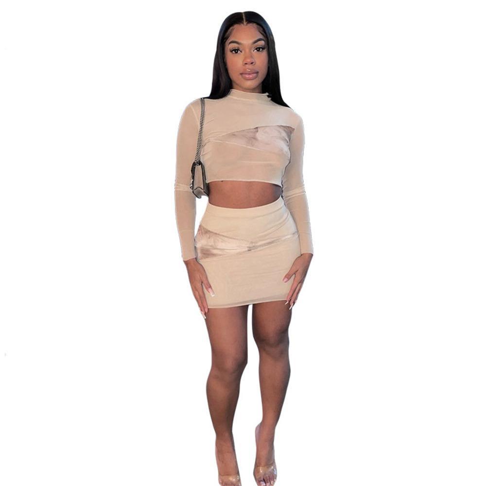 2021 Весна Сексуальные Женщины Сетка Прозрачные Шище Напечатанные Топ и Юбка Костюм Повседневная Набор нарядов 2 Piece Setfits Мода Streetwear L0303