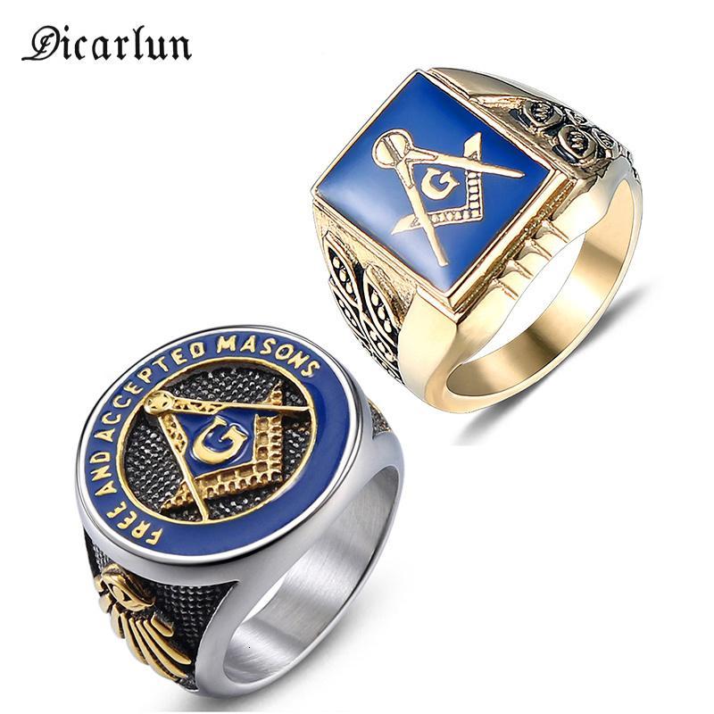 Dicarlun Acero inoxidable Masonic Mason Anillos de masón Men sello Sello Frasco Anillo Gold Freemasonry Vintage Punk Jewelry Mens Mascule Regalo