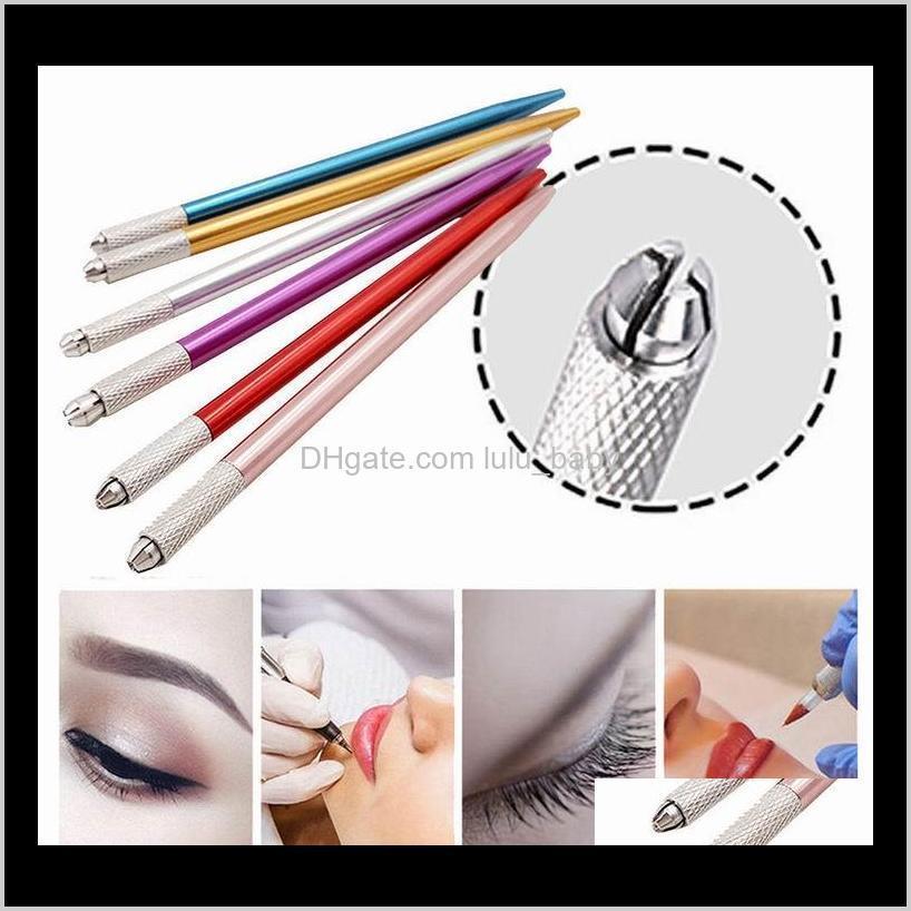100 قطع نصف دائم ماكياج القلم 3d التطريز ماكياج دليل أداة الوشم الحاجب microblade القلم 5 ألوان JDPRU W95RK