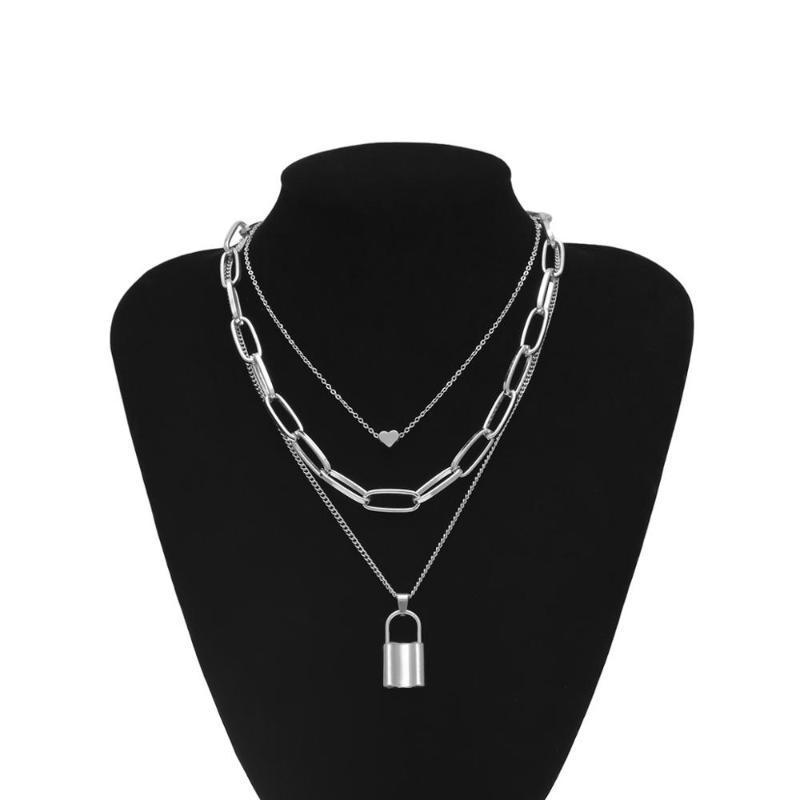Collares colgantes Hip Hop Multi Capas Collar de cadena con la cerradura del corazón Mujeres / hombres Punk Rock Cadlock Emo Grunge Goth Jewelry