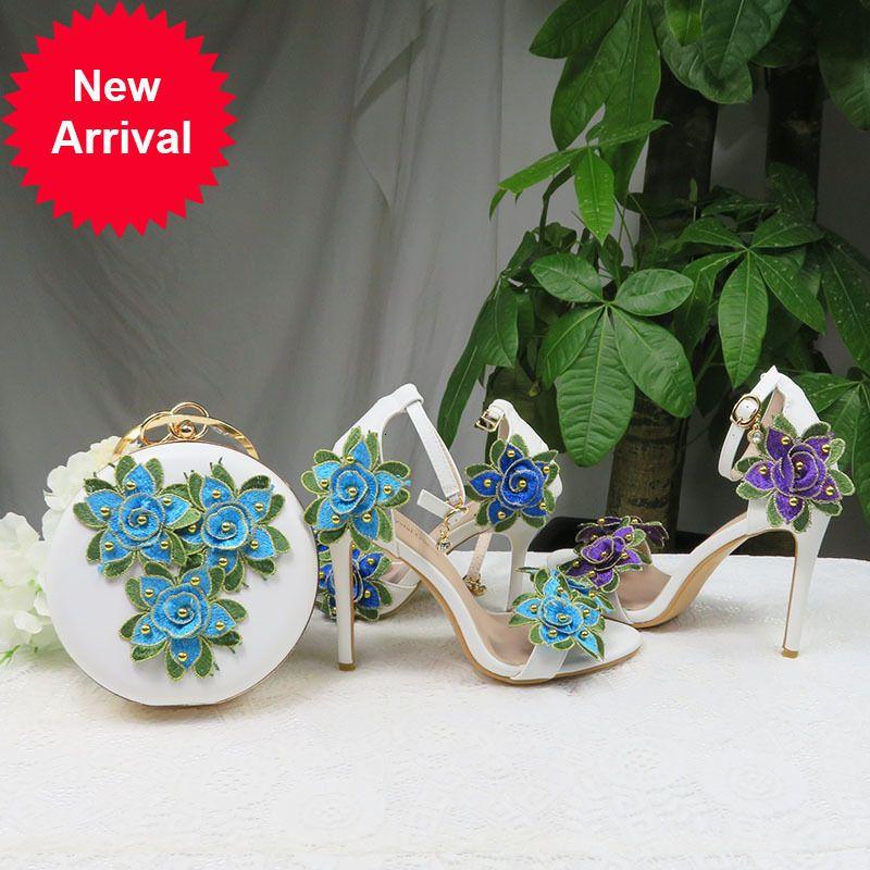 Цветочные свадебные туфли с подходящими мешками каблуки открытый носок лодыжки ремешок летом сандалии обувь и сумка установить высокую женщину