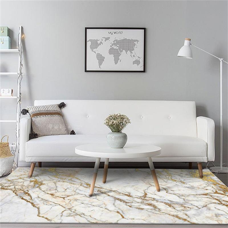 Fashion European And American Imitation White Gold Marble Bedroom Living Room Kitchen Floor Mat Carpet Carpets