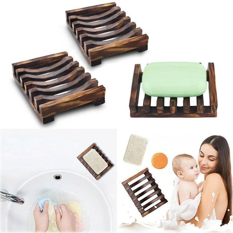 Doğal Ahşap Bambu Yemekleri Çanak Tepsi Tutucu Depolama Sabunluk Plaka Kutusu Konteyner Banyo Duş Banyo Için