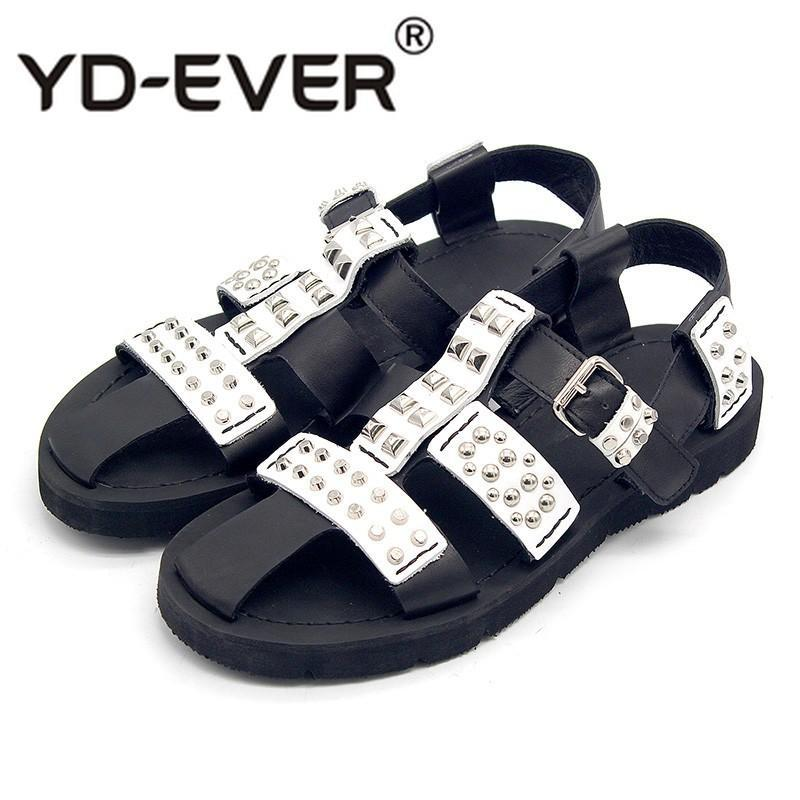 Punk Style Rivet Hollow Out Bandage Gladiator Sandals Men Personality Genuine Leather Outdoor Walking Casual