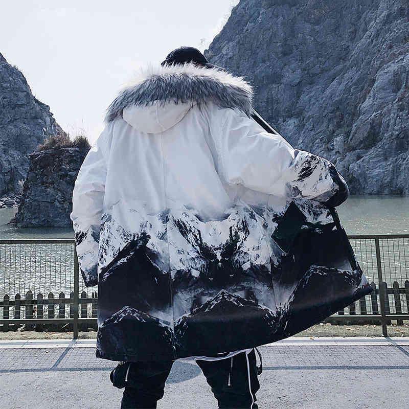 2021 Зимние Куртки Мужчины Мех Толстый Хлопок Мультикарманский Капюшон Parkas Мужская Повседневная Мода Теплые Пальто Plus Plus Размер 5XL Advoat