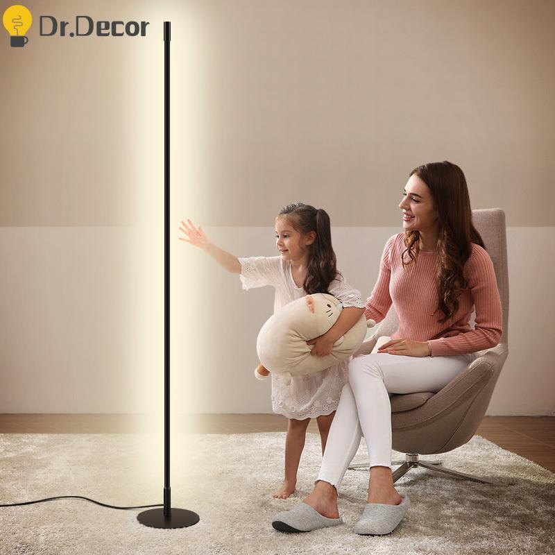 Minimalista moderno levou lâmpada de piso nórdico arte preto alumínio iluminação livre lâmpadas de pé para sala de estar luzes decorativas