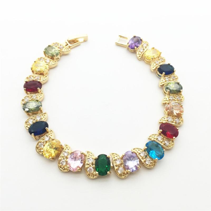 Çok Renkli Renk Kristal Zirkon Altın Kadınlar Için Bilezikler Sağlık Nikel Kurşun Ücretsiz Moda Takı Link, Zincir