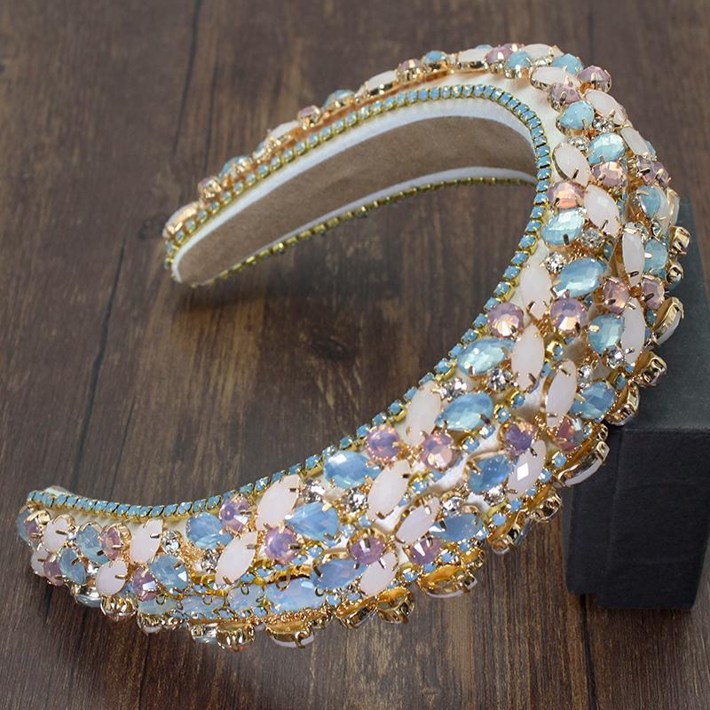 Abartılı Barok Hairband Bohemian Yastıklı Kristal Çiçek Taç Kadınlar Için Lüks Renkli Rhinestone Bantlar Düğün Parti Saç Klipleri