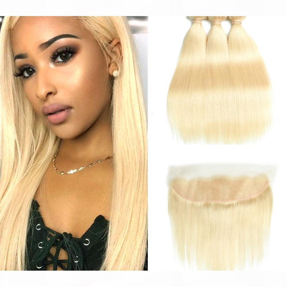 613 paquetes rubios Brasileño Remy Retutor Humano Cordillo Cierre frontal con paquetes 613 Blonde Human Hair 3 paquetes con cierre