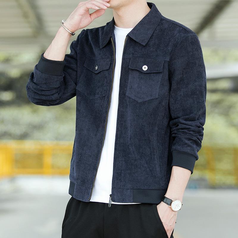 Мужские куртки отвороты на молнию большого размера мужской куртка мужская куртка весна и осень тренд корейские моды мужчины повседневные стройные мужчины