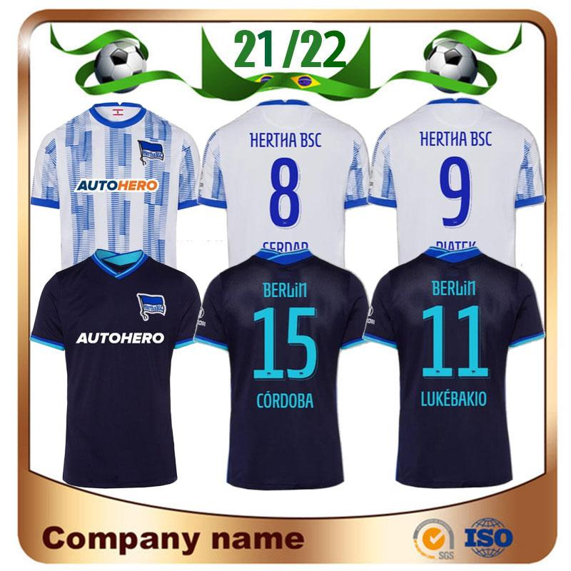 21/22 Hertha Berlim Futebol Jerseys 2021 Home Darida Piatek Serdar Cunha Maillots Camisa do pé Lukebakio Córdoba Boyata Toust Futebol Uniforme