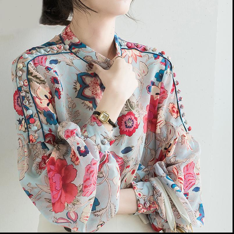 Stampa floreale Camicette in chiffon camicetta a maniche lunghe manica lunga ufficio ufficio signora casual top estate camicie allentate femminili