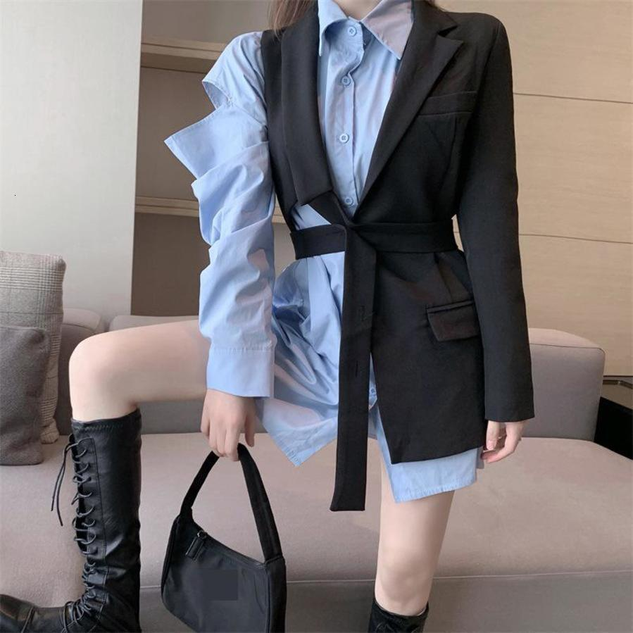 Vintage Frauen mit Schläuchen Schwarz Unregelmäßigen weiblichen Anzug Jacke Langarm Taschen Blazer und Blau Hemd Kleid Set
