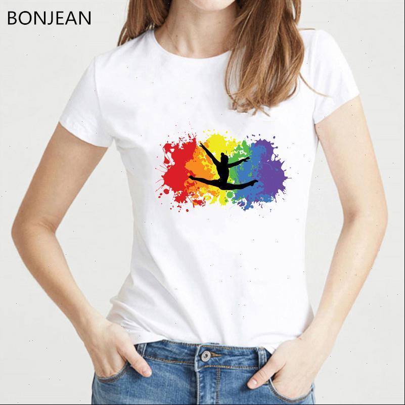 Frauen Tops Rainbow Turner Gymnast Tshirt Aquarell Gymnastik Design T-Shirt Femme Harajuku Kawaii Kleidung Drop