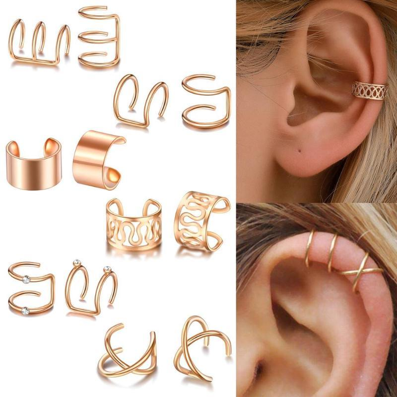 Stud 12pcs/set 2021 Fashion Gold Color Ear Cuffs Leaf Earrings Women Climbers No Piercing Fake Cartilage Earring Jewelry