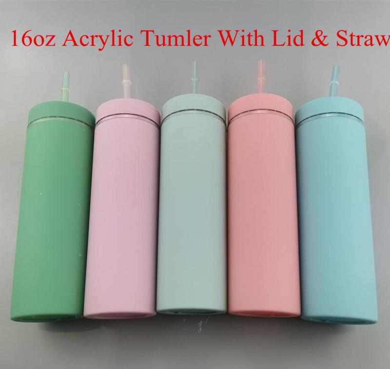 16oz Acrylic Tumbler double wall water bottle with lid and colorful straw for 5 color A10