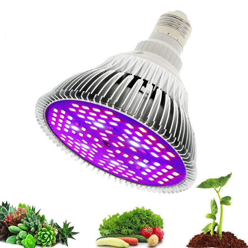 Светодиодный светильник света Полный спектр 30 Вт / 50 Вт / 80 Вт E27 УФ-инкусирующая лампочка для внутренних гидропонических цветов.