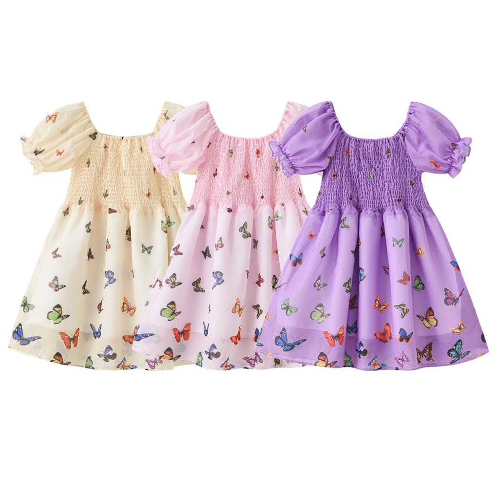 Ins baby stress малыш девушка юбка Летняя фея принцесса для партии батловый принт коротким рукавом бутик