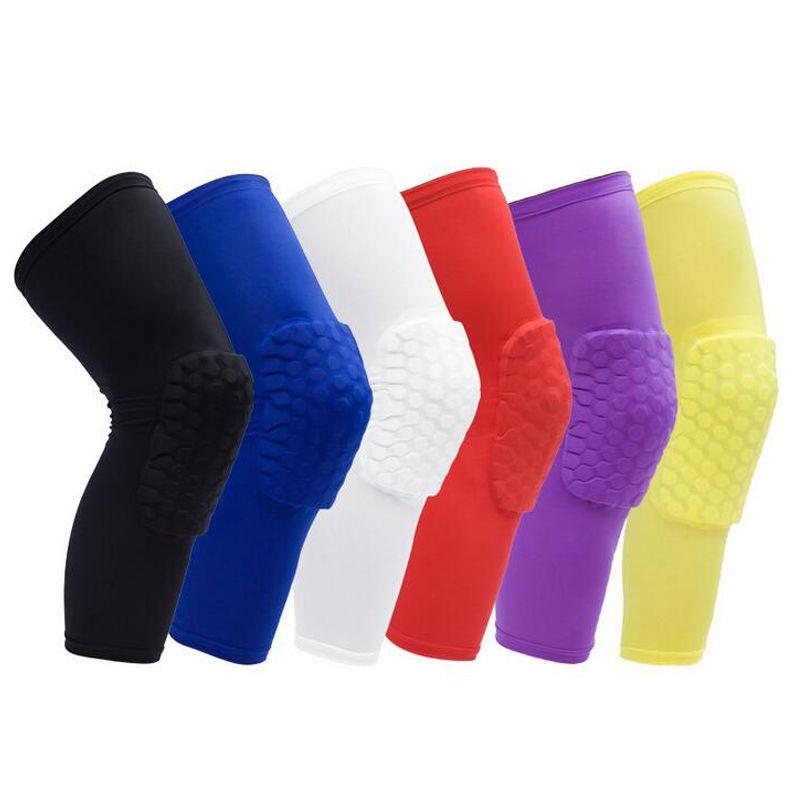 Favo de mel esportes fitas de segurança vôlei basquete joelho almofada compressão meias knee wraps brace protetor acessórios de moda único pacote o