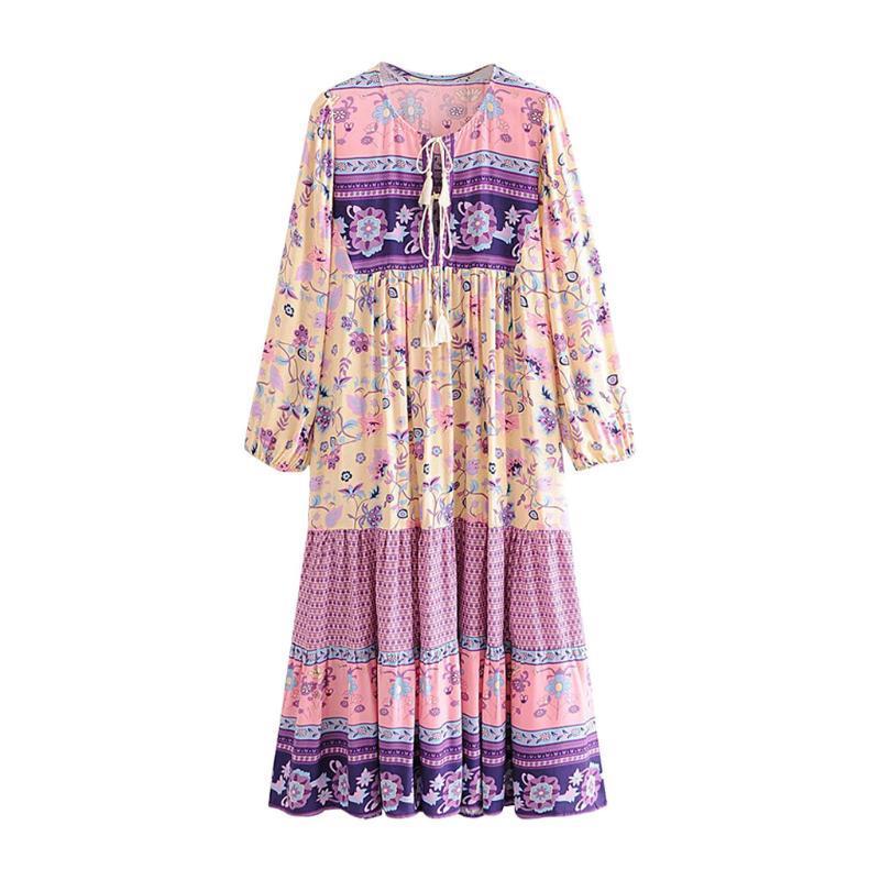 Moda Manga Longa Mulheres Boho Vestido Floral Print Chiffon Vestidos Ruffles Feminino Feminino férias Casual 2021 Vestidos # J3