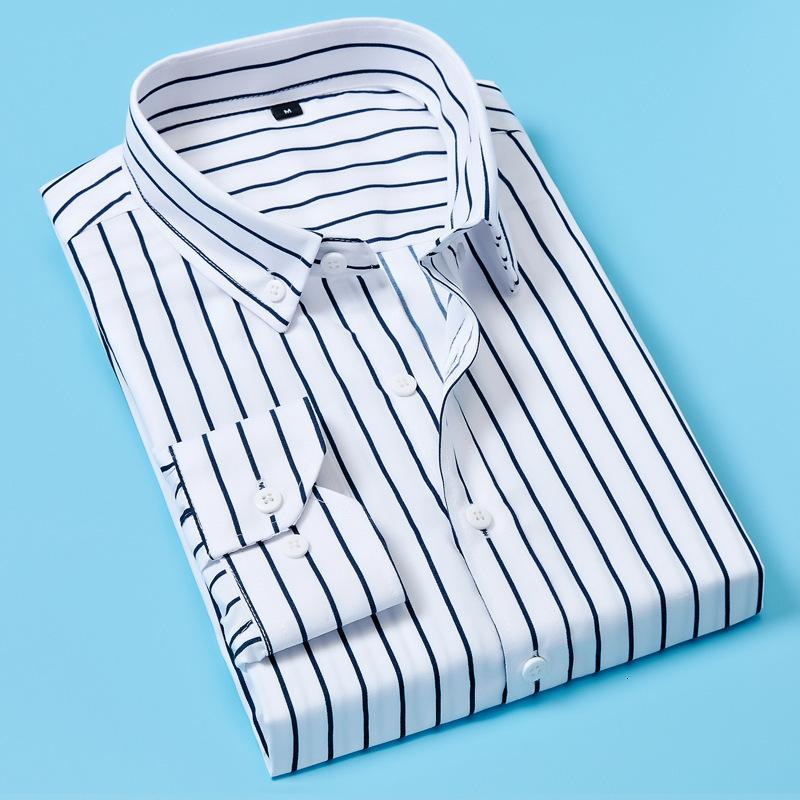 2021 otoño de manga larga raya negocio camisa casual de hombre coreano de hombre moda