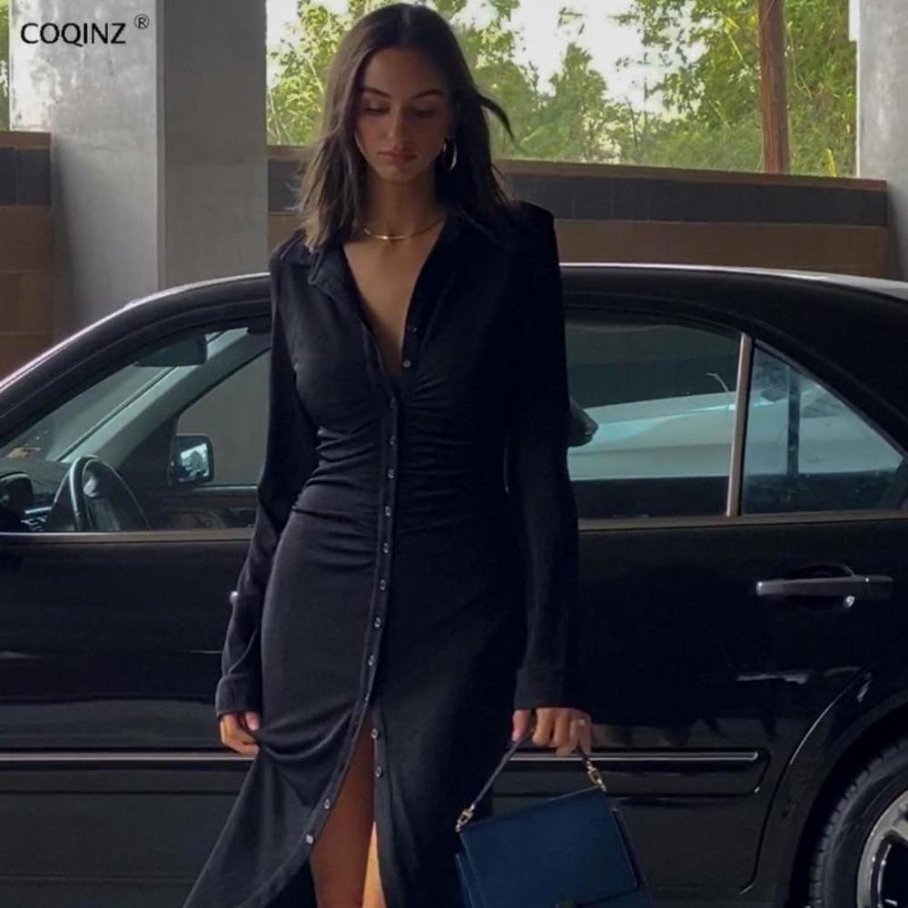 여자 섹시한 바디 콘 붕대 드레스 겨울 긴 소매 드레스 여성 파티 나이트 클럽 2021 검은 우아한 옷 SUM2654A 캐주얼
