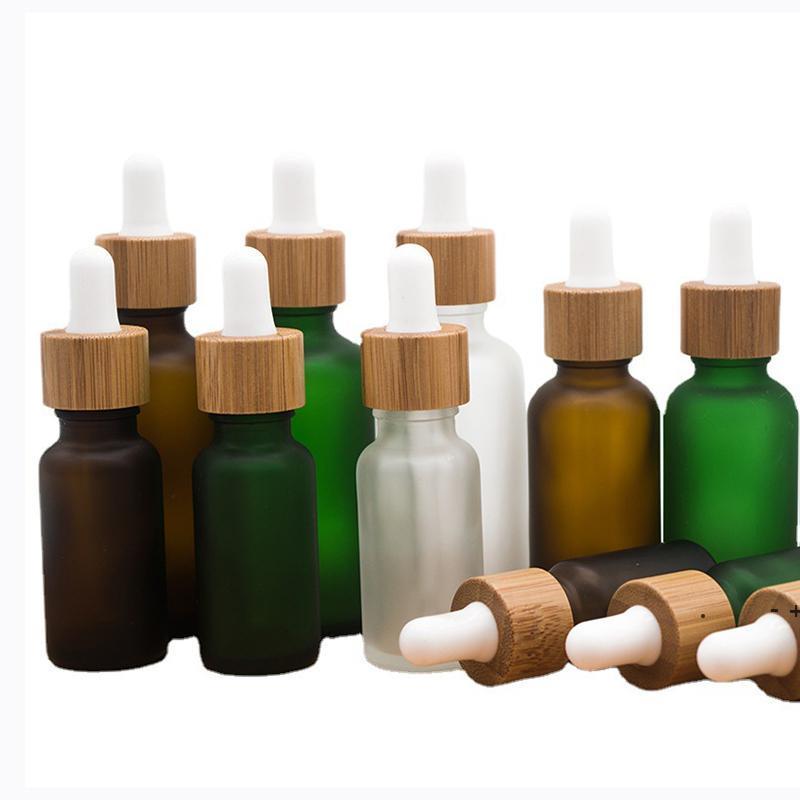 30 ملليلتر الزجاج بالقطارة زجاجة الخيزران الدائري متجمد زجاج زجاجات النفط السفر المحمولة التجميل تعبئة فارغة FWF8476