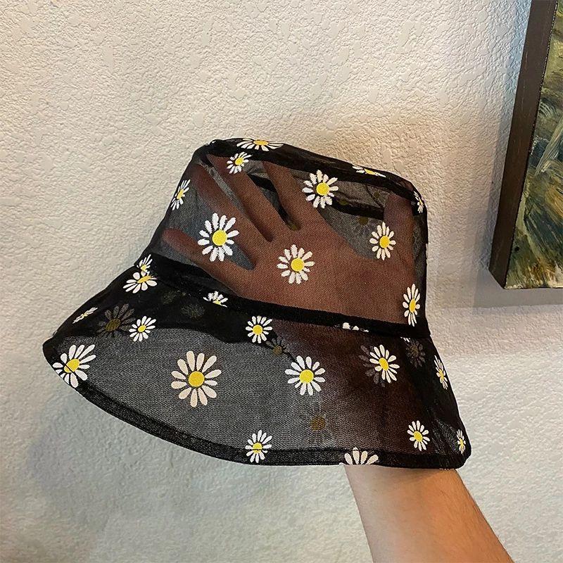 자수 데이지 양동이 비니 여성 투명 메쉬 파나마 레이스 어부 모자 패션 여름 야외 밥 낚시 태양 모자